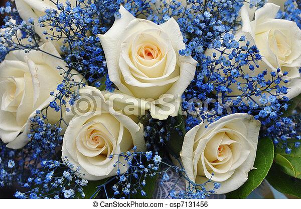 Populaire Stock image de bouquet, mariage - bleu, bouquet, roses, mariage  MU36