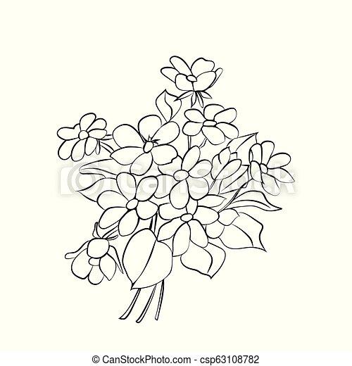 Bouquet Noir Blanc Fleurs Leaves