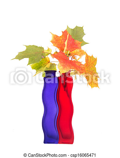 Bouquet of autumn leaves in bright colored vase on a white background - csp16065471
