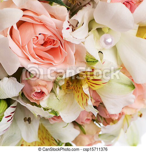 Bouquet of beautiful flowers a background - csp15711376