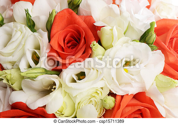 Bouquet of beautiful flowers a background - csp15711389