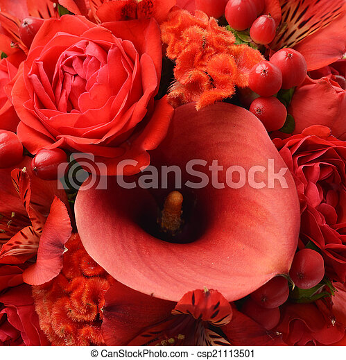Bouquet of beautiful flowers a background - csp21113501