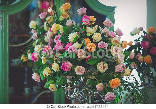 bouquet of beautiful flowers in vase - csp57281411