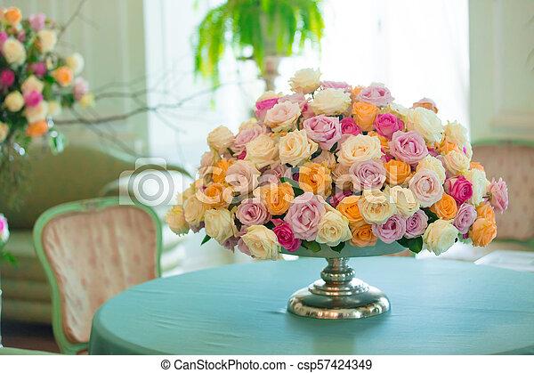 bouquet of beautiful flowers in vase - csp57424349
