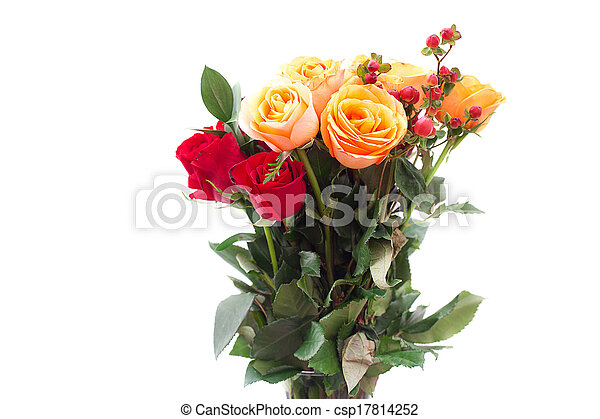 bouquet of colorful roses in a vase on white background - csp17814252