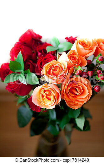 bouquet of colorful roses in a vase on white background - csp17814240