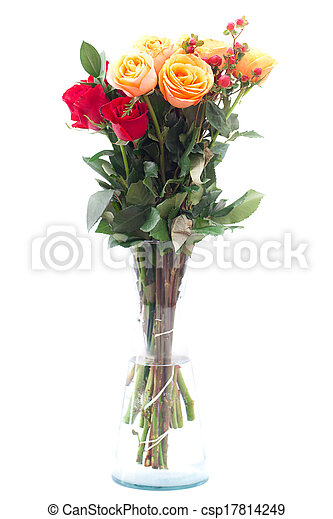 bouquet of colorful roses in a vase on white background - csp17814249