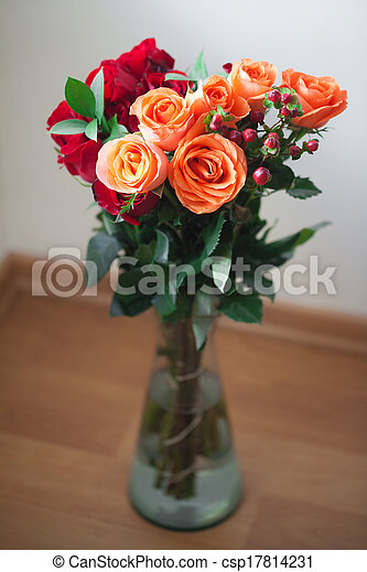 bouquet of colorful roses in a vase on white background - csp17814231