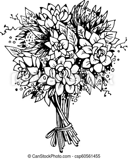 Bouquet of flowers. black and white vector sketch.