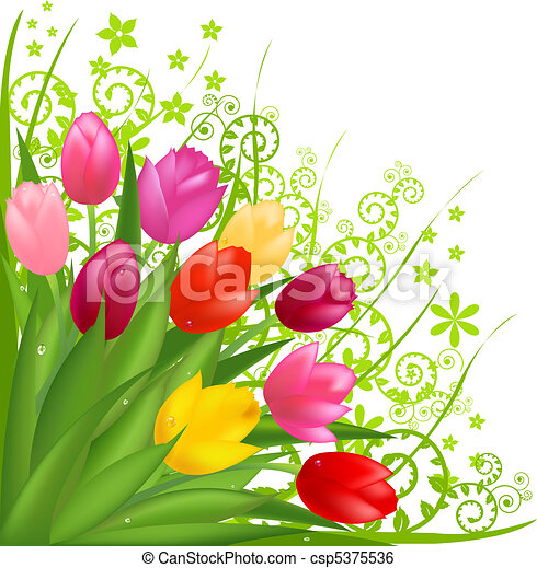 Bouquet Of Flowers From Spring Tulips Isolated On