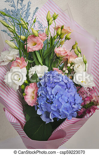 Bouquet Of Flowers Eustoma And Hydrangeas Bouquet Of Flowers