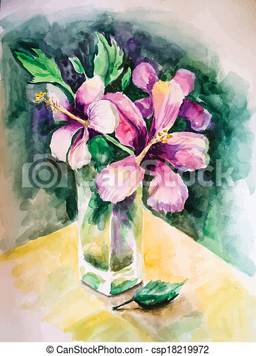 Bouquet Of Flowers In A Glass Vase Aquarelle Picture A Bouquet Of