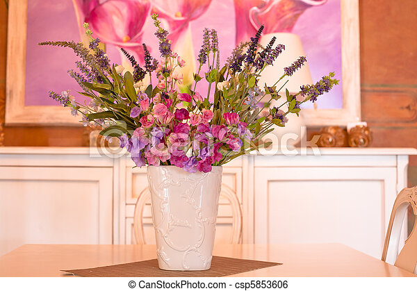 bouquet of flowers in a vase - csp5853606