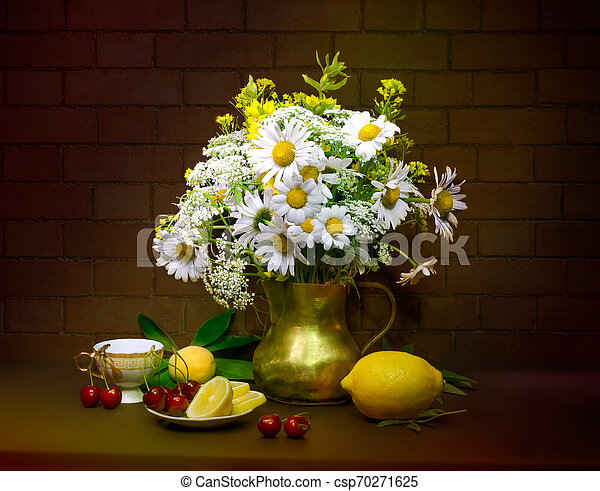 bouquet of flowers in a vase - csp70271625