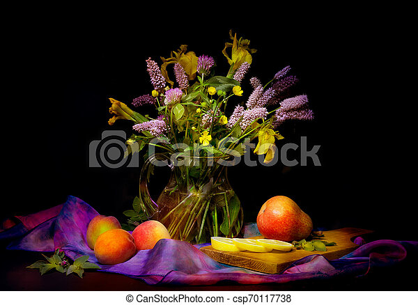 bouquet of flowers in a vase - csp70117738