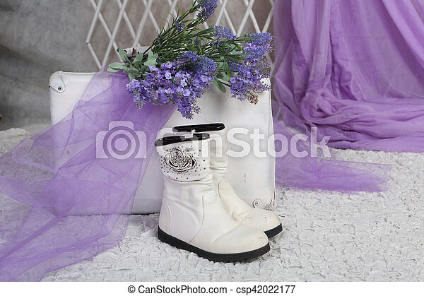 bouquet of lavender rests on an old suitcase in a bright room - csp42022177