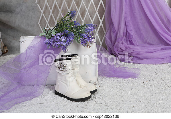 bouquet of lavender rests on an old suitcase in a bright room - csp42022138