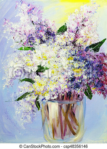 Bouquet Of Lilac In Vase Oil Paintings On Canvas