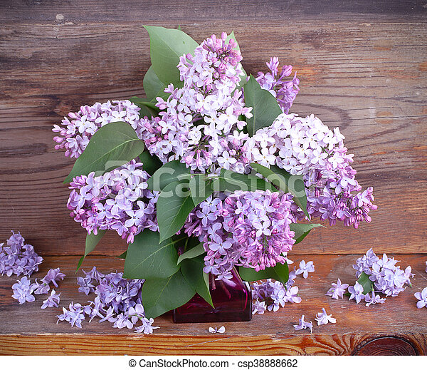 Bouquet of lilac on old boards background - csp38888662