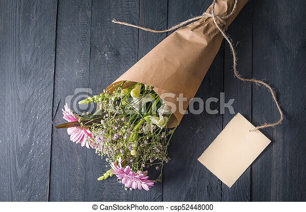 Bouquet Of Mixed Flowers And A Message Card Gifting Theme Image