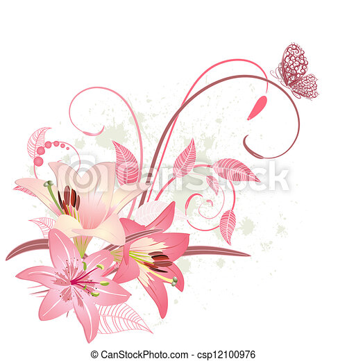 Bouquet of pink lilies - csp12100976