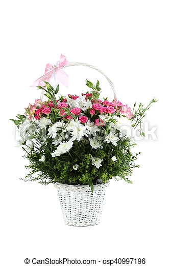 Bouquet of pink roses in basket isolated on a white - csp40997196
