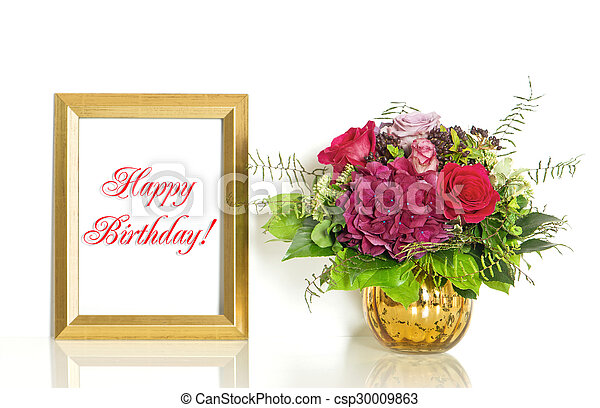 Bouquet Of Rose Flowers And Golden Frame Happy Birthday