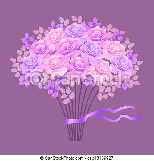 bouquet of rose vector illustration - csp48109927
