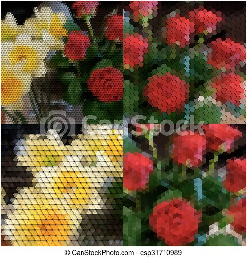 Bouquet of roses and daffodils. Abstract multicolored backgrounds set. Natural geometrical patterns. Triangular, hexagonal style vector illustration - csp31710989