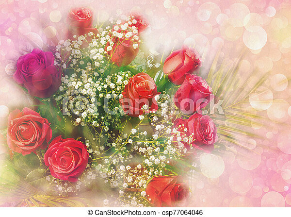 Bouquet of roses greeting card - csp77064046