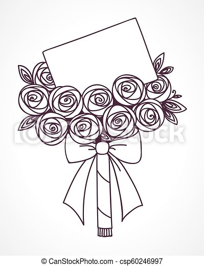 Bouquet of roses with message card