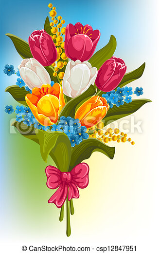 Bouquet of spring flowers tulips forget me and mimosas clipart bouquet of spring flowers csp12847951 mightylinksfo Choice Image