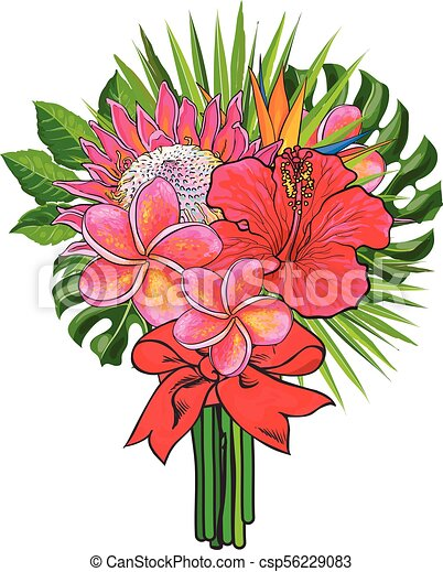 Bouquet of tropical flowers and green leaves with red ribbon isolated on white background. - csp56229083