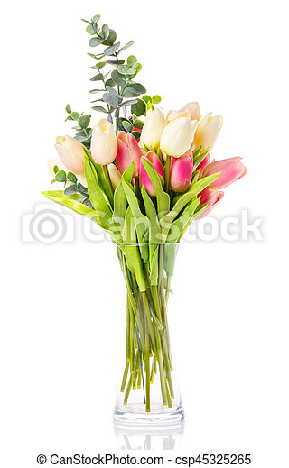 bouquet of tulips in a glass vase on white - csp45325265