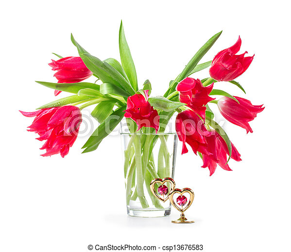 Bouquet of tulips on a white background - csp13676583