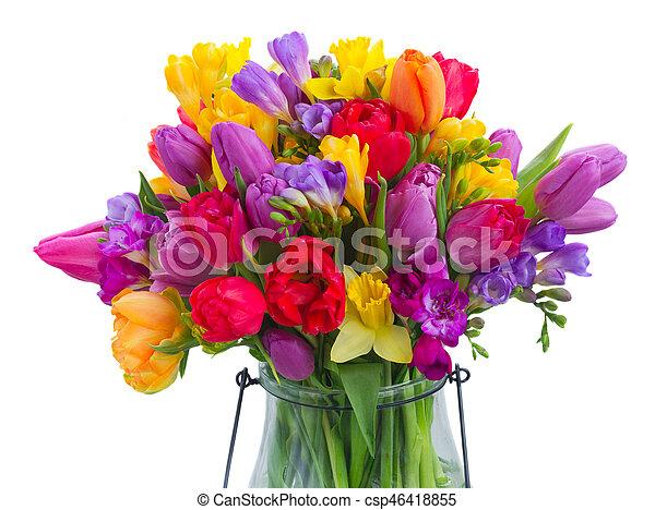 bouquet, printemps, clair, fleurs - csp46418855