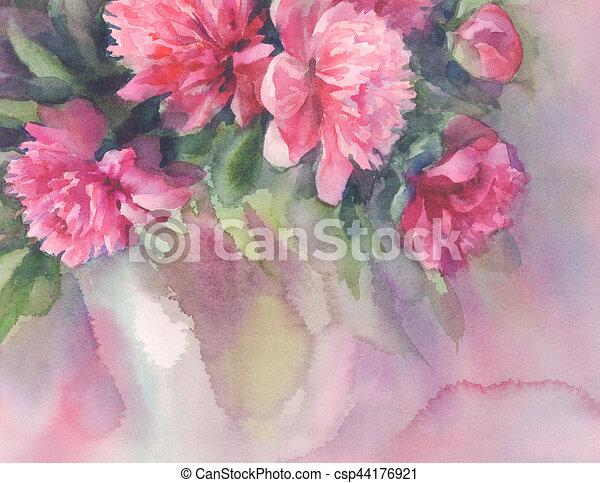 Bouquet Rose Aquarelle Pivoines
