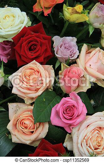 Bouquet Rose Multicolore Different Bouquet Rose Couleurs