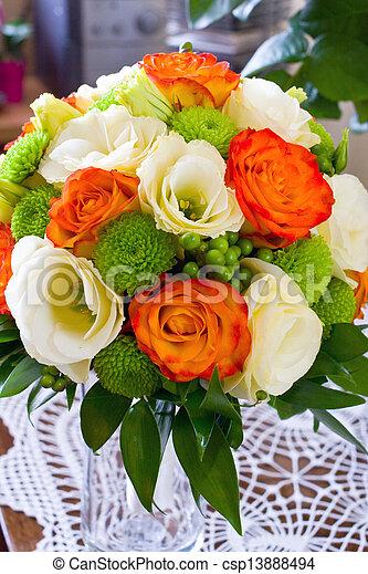 Bouquet Roses Jaunes Mariage Orange Blanc