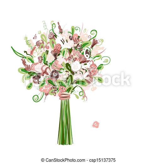 bouquet, stylique floral, ton, mariage - csp15137375