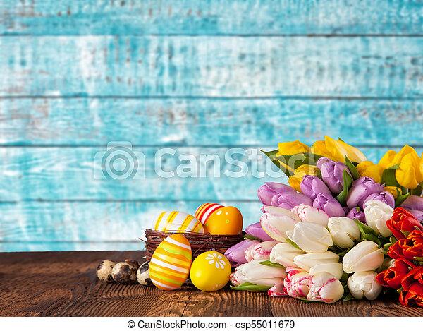 bouquet, tulipes, oeufs, paques, coloré - csp55011679