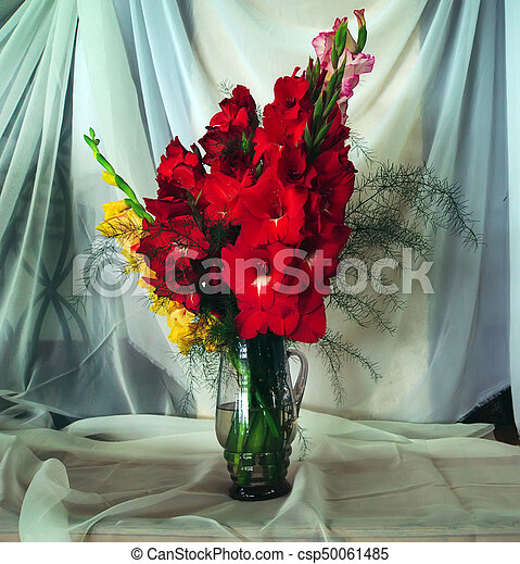 Bouquet With Colorful Gladiolus Red Gladiolus In Vase Against White