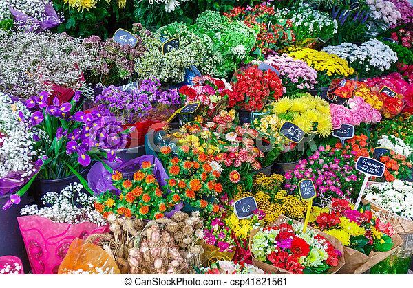 Bouquets of flowers in Paris - csp41821561