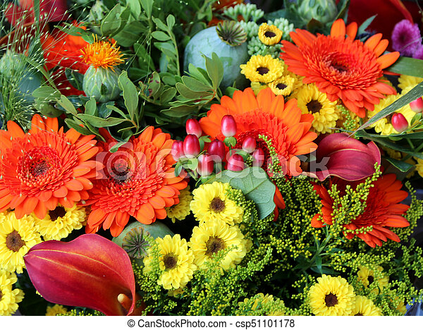 bouquets of flowers with gerberas for sale in the flower market - csp51101178