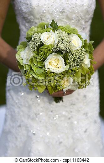 bouquetten, bruid, vasthouden, trouwfeest - csp11163442
