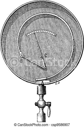 Bourdon Pressure Gauge, vintage engraving - csp9586907