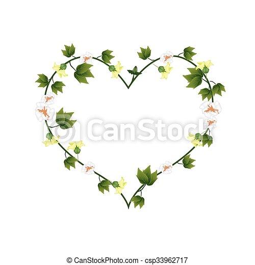 Bourgeons Coeur Jaune Forme Fleurs Coton Bourgeons Coeur