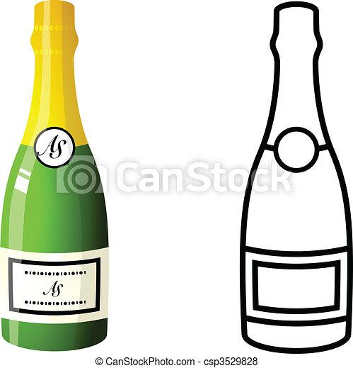 Bouteille De Champagne Dessin bouteille champagne. bouteille, vecteur, champagne, illustration