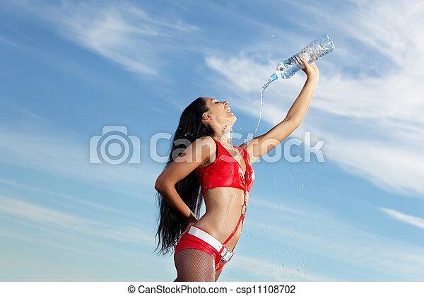 bouteille, jeune, eau, femme, girl, sport - csp11108702