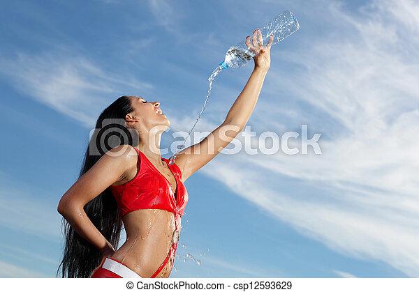 bouteille, jeune, eau, femme, girl, sport - csp12593629